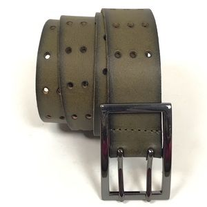LP by Linea Pelle Perforated Leather Green Belt